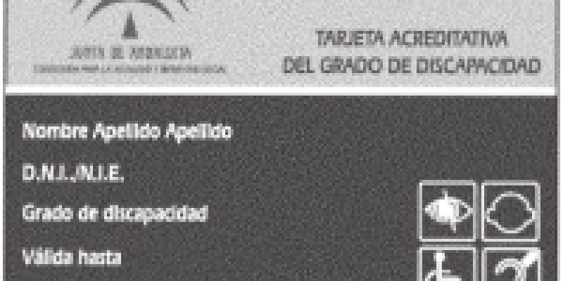 Tarjeta de acreditación de discapacidad Andalucia-España