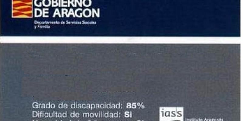 Tarjeta de acreditación de discapacidad, Aragón-España