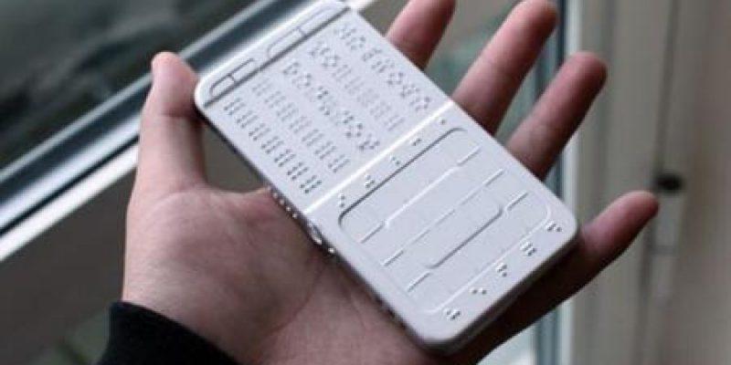 Concepto de celular con sistema Braille para invidentes