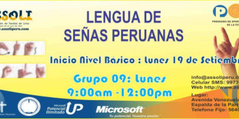 Curso de lengua de señas Peruanas inicio 19 de septiembre