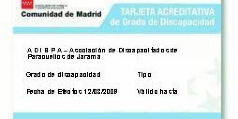 Tarjeta discapacidad Madrid España