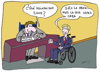 Discapacidad y humor gráfico, entrevista de trabajo