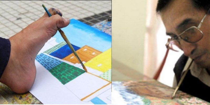 Pintura con boca y pie exposición colectiva Lima Perú
