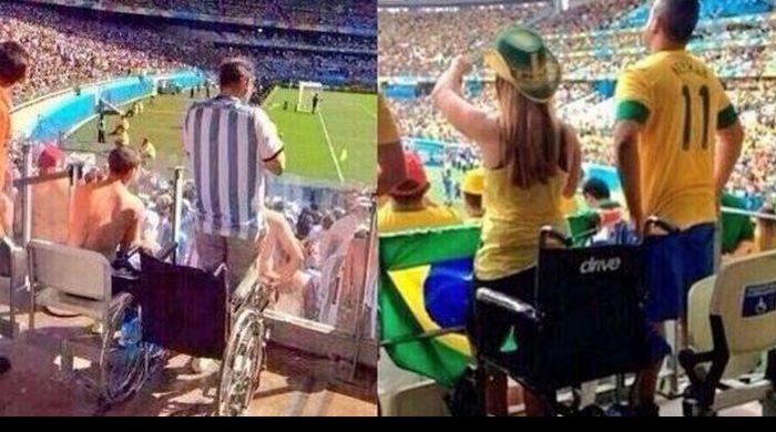 Polemica por fotos de hinchas con discapacidad en Brasil 2014