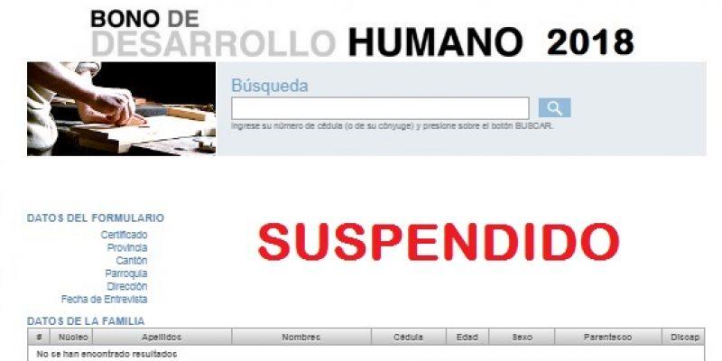 Bono de Desarrollo Humano motivos de suspensión