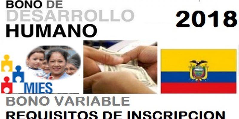 Bono de desarrollo humano bono variable inscripción 2018