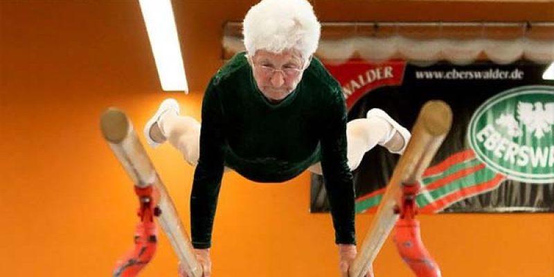 Anciana de 89 años sorprende en la gimnasia