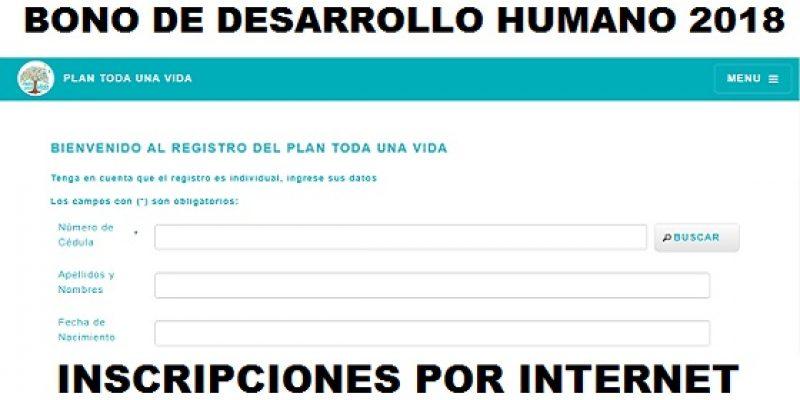Inscribirse al bono de desarrollo humano 2018