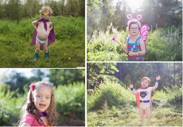 Niños con capacidades diferentes posan como superheores